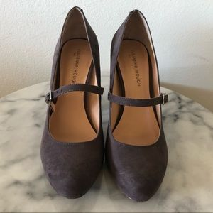 Sole Society Faux Suede Mary Janes W/ Block Heel